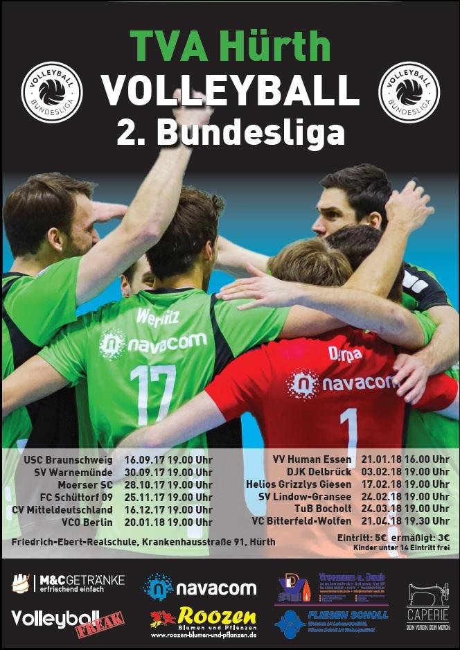 Das Bild zeigt das Spieltagsplakat zu den Heimspielen des TVA Hürth für die 2. Volleyball Bundesliga 2017/18